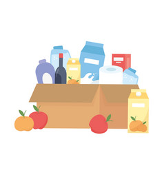 Shopping products inside box design vector
