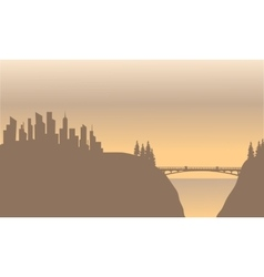 Silhouette of city and bridge vector image