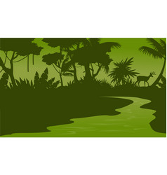 Silhouette of forest and river scenery vector
