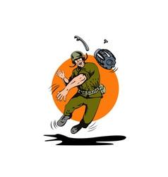 Soldier Throwing Grenade vector