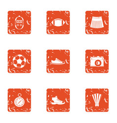 Sport commit icons set grunge style vector