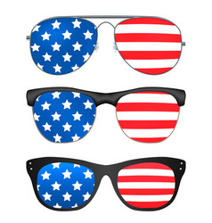 sunglasses with united states america flag vector image