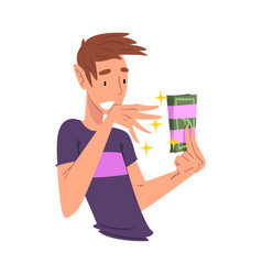 surprised young man holding money pack bundle in vector image