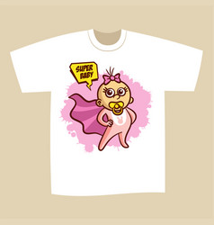 T-shirt print design superhero baby girl vector