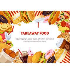 Takeaway food banner template with delicious fast vector