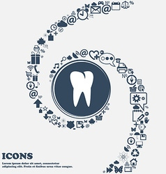 Tooth icon in the center around the many beautiful vector