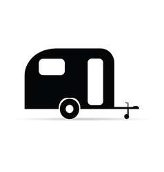 trailer icon camper in black color vector image