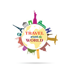 travel around the world sign with history building vector image