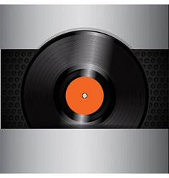 vinyl record on brushed metallic background vector image