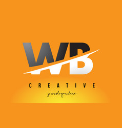 wb w b letter modern logo design with yellow vector image