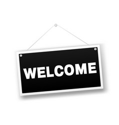 welcome hanging sign isolated on white wall vector image