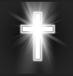 white cross with frame and shine symbol of vector image