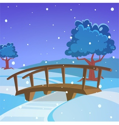 Winter landscape with bridge vector image