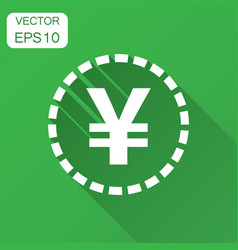 Yen yuan money currency icon in flat style yen vector