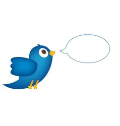 Blue bird with speech bubble vector image vector image