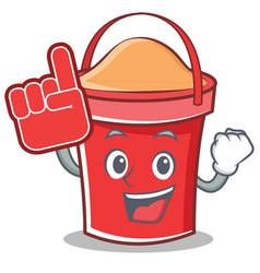foam finger bucket character cartoon style vector image vector image