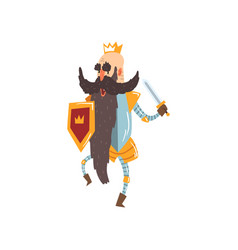 funny bald king character holding sword and shield vector image
