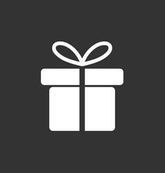gift box icon flat on black background vector image