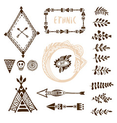 hand drawn ethnic collection with arrows wigwam vector image