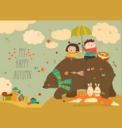 happy kids with bear and fox in autumn forest vector image