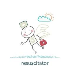 resuscitator flies to the patient vector image vector image