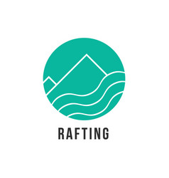 simple green rafting icon vector image vector image