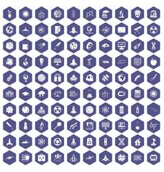 100 space icons hexagon purple vector