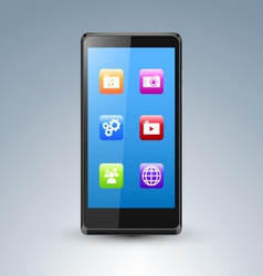 a smarthone with app icons vector image