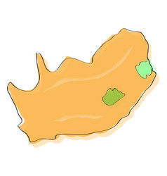 comic drawing of a map of south africa vector image vector image