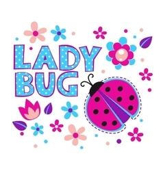 Cute girlish with ladybug vector