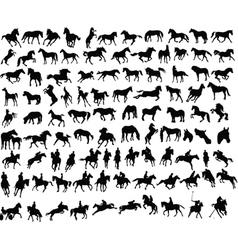 100 horses vector image