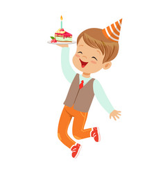 adorable little boy in elegant clothes and red vector image vector image