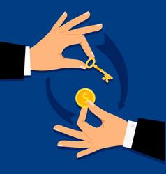 businessman hands giving money for key vector image