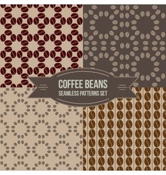 Coffee beans seamless patterns set vector image vector image