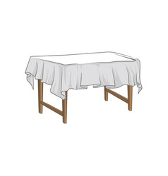 empty square wooden table with tablecloth hand vector image