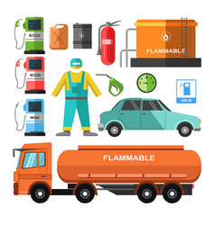 filling station template with necessary equipments vector image