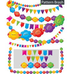 garland of flowers and flags vector image vector image