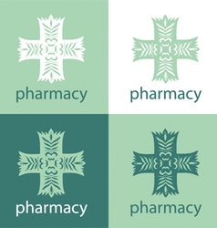 Green medicine logo vector image