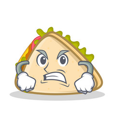 angry sandwich character cartoon style vector image vector image