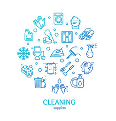 household and cleaning tools color round design vector image