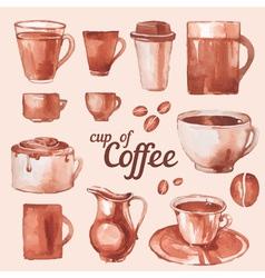 watercolor vintage cups of coffee vector image