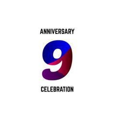 9 year anniversary celebration logo template vector
