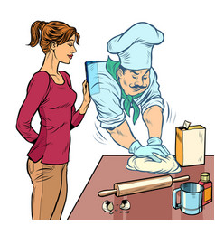 a woman cooks in kitchen a professional cook vector image