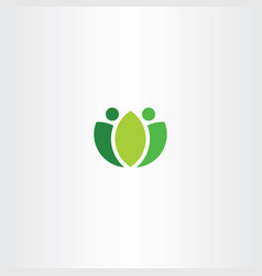 abstract logo green people fresh bio symbol vector image