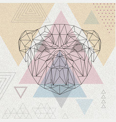 Abstract polygonal tirangle animal bulldog vector