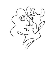 abstract portrait man and woman in minimalist vector image