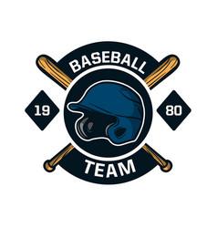 baseball badge logo emblem template team 1980 vector image