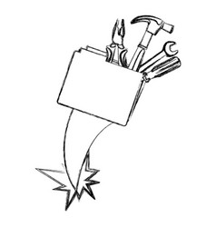 Blurred silhouette folder and hand tools vector
