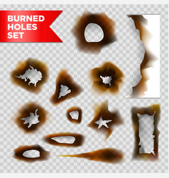 burnt holes scorched paper isolated set on vector image