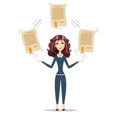 Businesswoman holding a diploma or patent vector